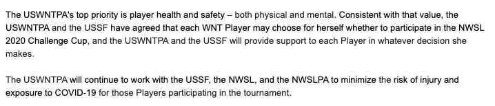 """Statement from @USWNTPlayers:  """"Each WNT Player may choose for herself whether to participate in the NWSL 2020 Challenge Cup, and the USWNTPA and the USSF will provide support to each Player in whatever decision she makes."""" #USWNT #NWSLpic.twitter.com/oh1uzdAINN"""