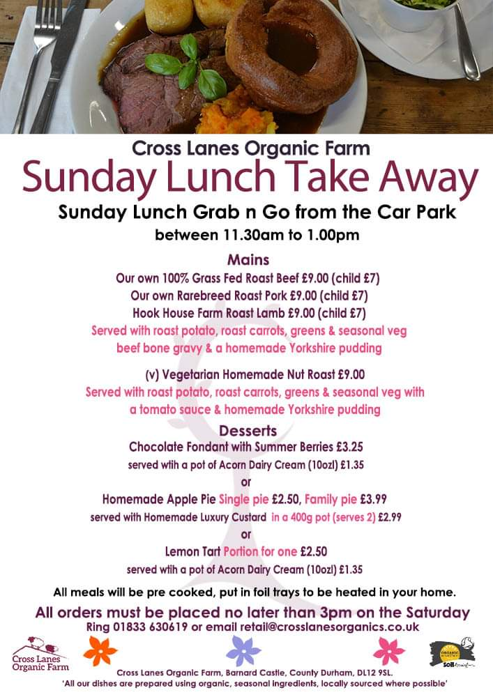 It's that time of the week to remind you about our tasty Sunday Lunch take away service. Everyone's got their favourite what will you choose? All you need to do is ring 01833 630619 with your order or email retail@crosslanesorganics.co.uk before 3pm on Saturday. #sundaylunch <br>http://pic.twitter.com/0bDWS57Ggd