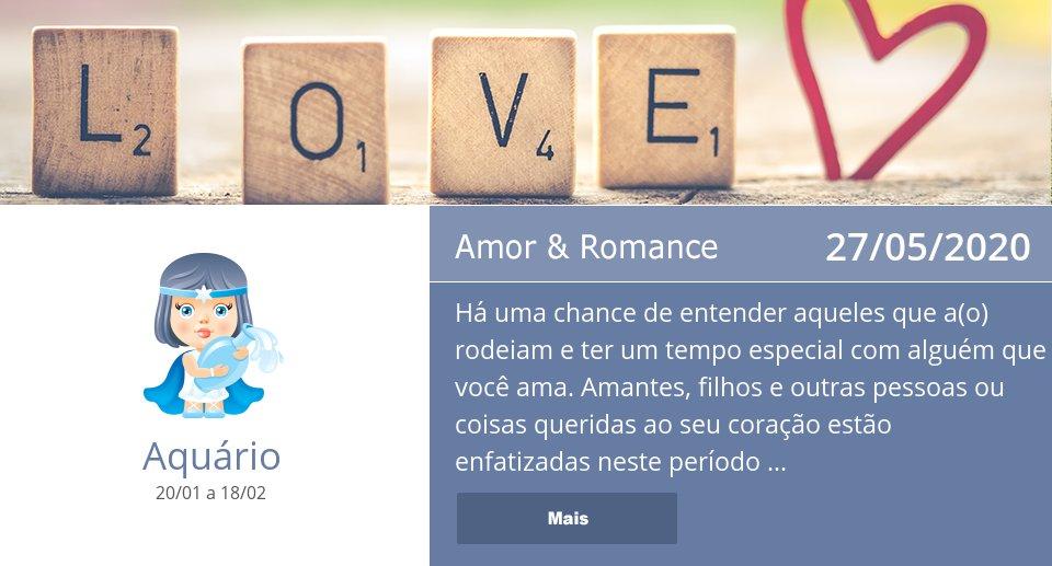 27/05/2020: Amor & Romance => Veja mais: https://t.co/L4eqrzWIfu #Aquário #Horóscopo https://t.co/IcEcbEeLJx