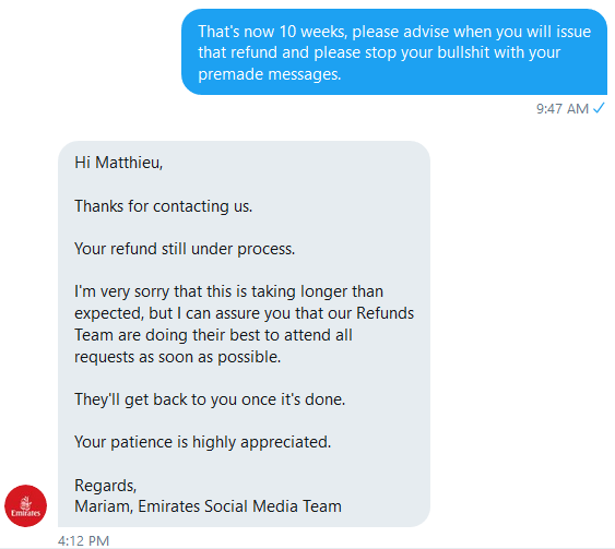 Your answer is once again a joke @emirates @EmiratesSupportpic.twitter.com/VqLwGemahQ
