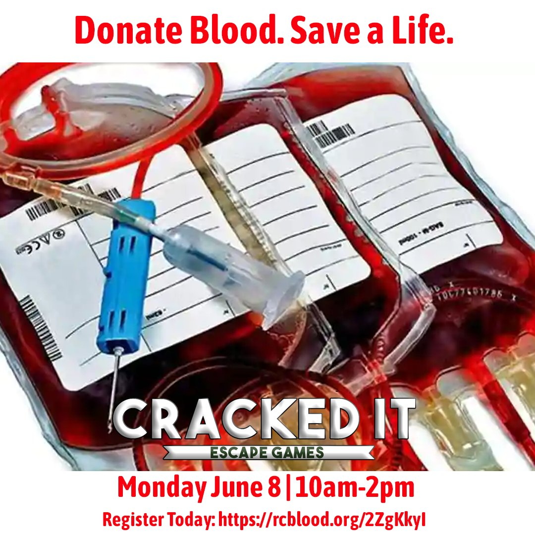 #bloodfact In one day blood travels nearly 12,000 miles through the body. We have partnered with the American Red Cross to host a Blood Drive right here at Cracked It Escape Games. 06/08/20 10am-2pm. Sign Up today.  http:// rcblood.org/2ZgKkyI     . #jacksonvillenc #blooddrive #escaperoom<br>http://pic.twitter.com/OxCB1TCM9L