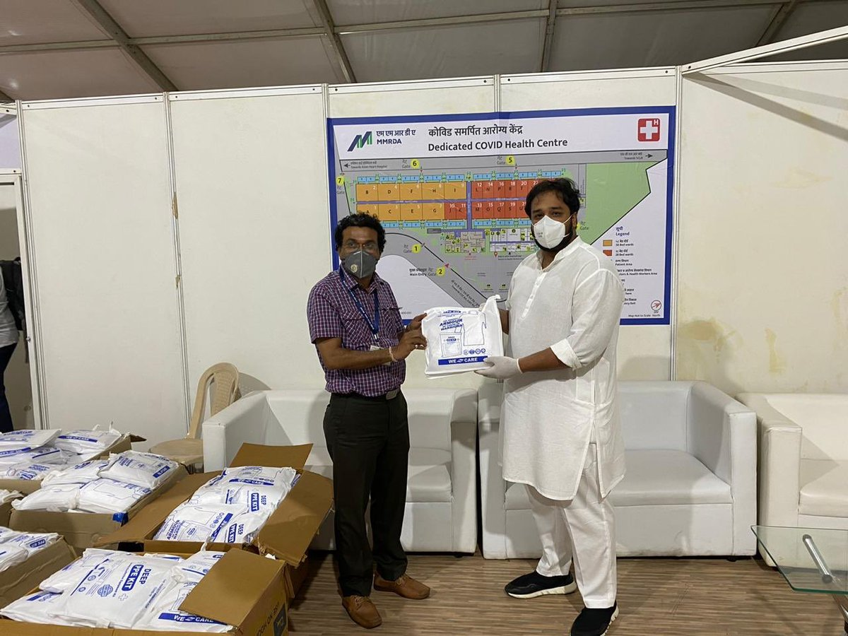 Donated 1000 certified PPE kits & 1000 face shields to the modular COVID-19 hospital at BKC from my side. Handed it over today to the dean - Dr Rajesh Dere who is the incharge there. It is very important that our doctors & medical staff are equipped with the correct safety gear!