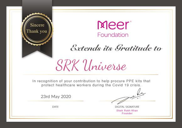 Thank you @MeerFoundation for acknowledging our little contribution. We can't thank @iamsrk enough for all that you have done and for inspiring us. We request everyone to come forward and donate your bit to help protect healthcare workers: