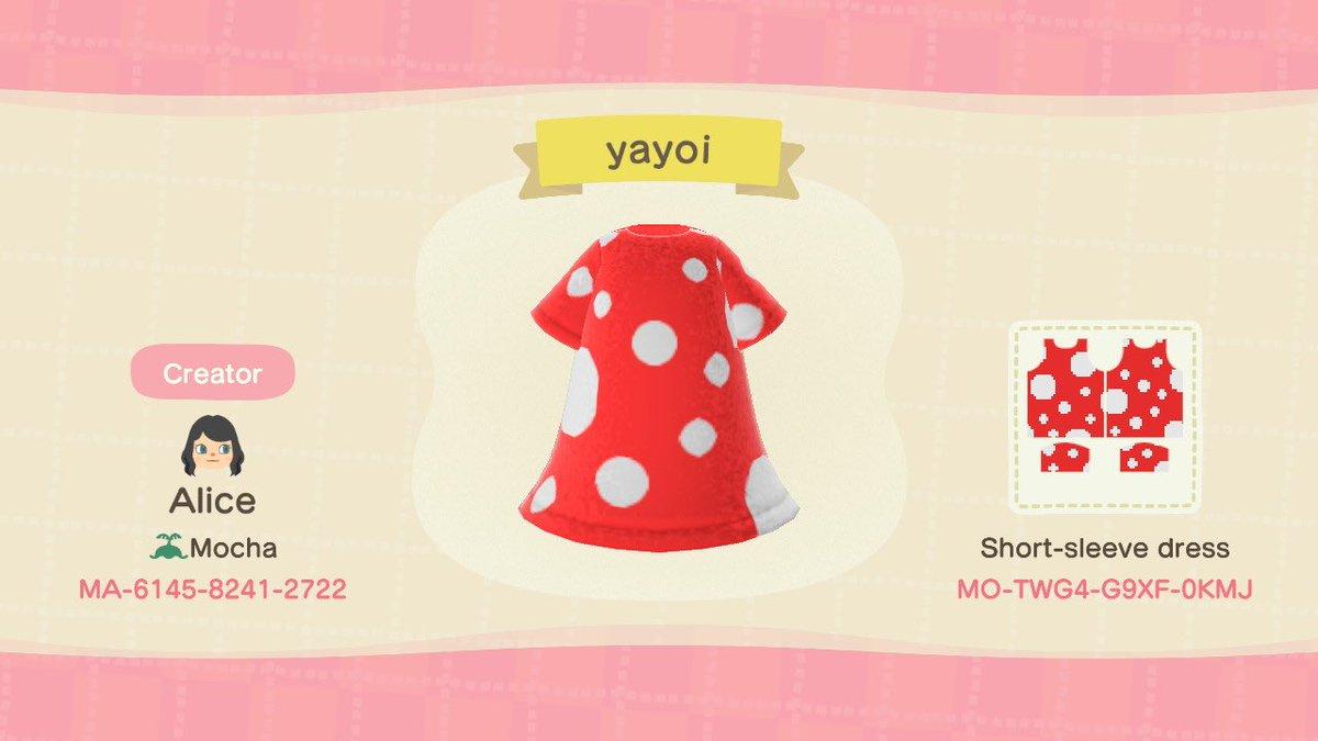 I made a design of Yayoi Kusama's famous dress. Please feel free to use it. 草間彌生の有名なドレスを作った。ぜひ着て下さいね〜❣️#acnh #acnhdesign #マイデザイン #どうぶつの森