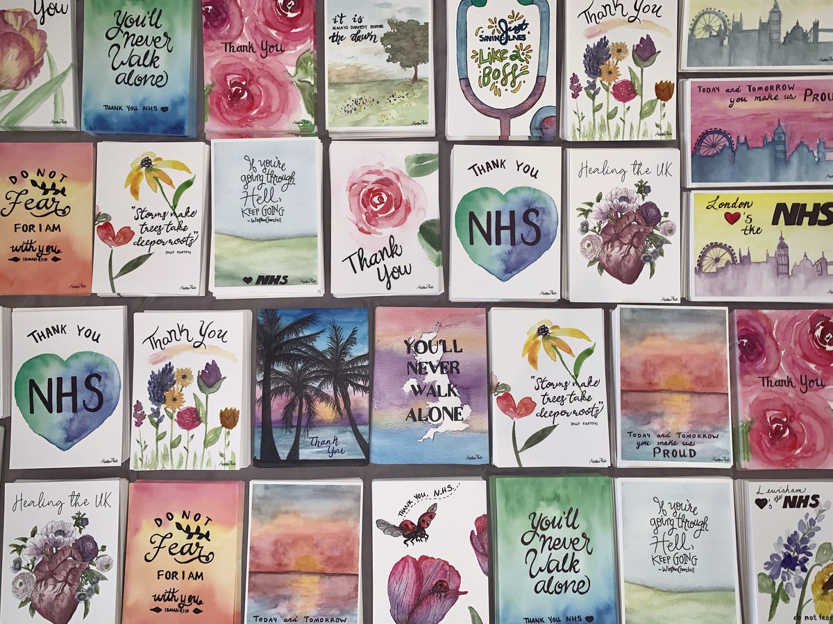 Great to see the local people, businesses and organisations supporting @HelpLewishamNHS initiative. @HeatherVDesign painted these beautiful #cardsforcarers and the community donated for printing to say thanks to NHS staff  #WeAreLewisham #actsofkindness pic.twitter.com/k6a1McWHiM