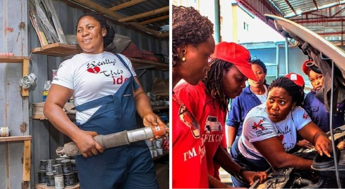 Nigeria's first female mechanic, Sandra Aguebor's goal is to help other women gain independence and skills by teaching them mechanics too #womensart<br>http://pic.twitter.com/xEIPm61RX8