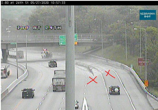 Image posted in Tweet made by Omaha Hwy Conditions on May 27, 2020, 3:58 pm UTC