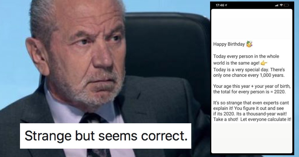 Lord Sugar shared this 'once in a millennium' birthday coincidence and we can only hope he's in on the joke thepoke.co.uk/2020/05/27/lor…
