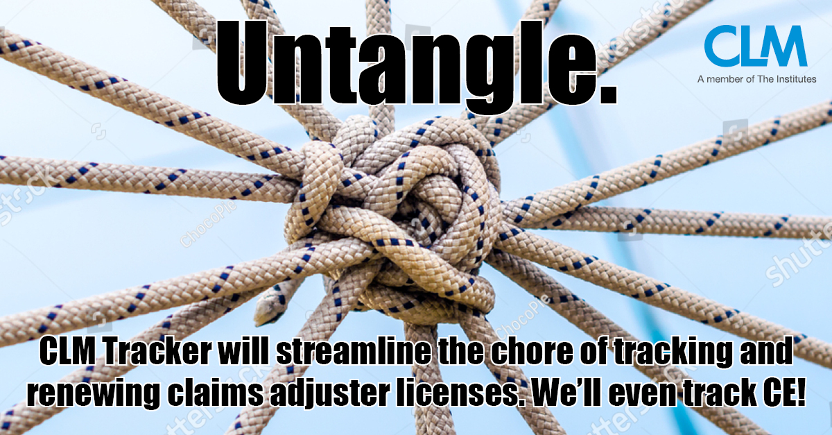 Tracking and renewing adjuster licenses doesn't have to be an administrative nightmare and time burden. Untangle it with CLM Tracker. Easily track and renew all adjuster licenses in one place. https://bit.ly/3ekEmRz  #CLMTracker #Insurance #ClaimsManagement #InsuranceAdjusterpic.twitter.com/aamL7Fx3ii