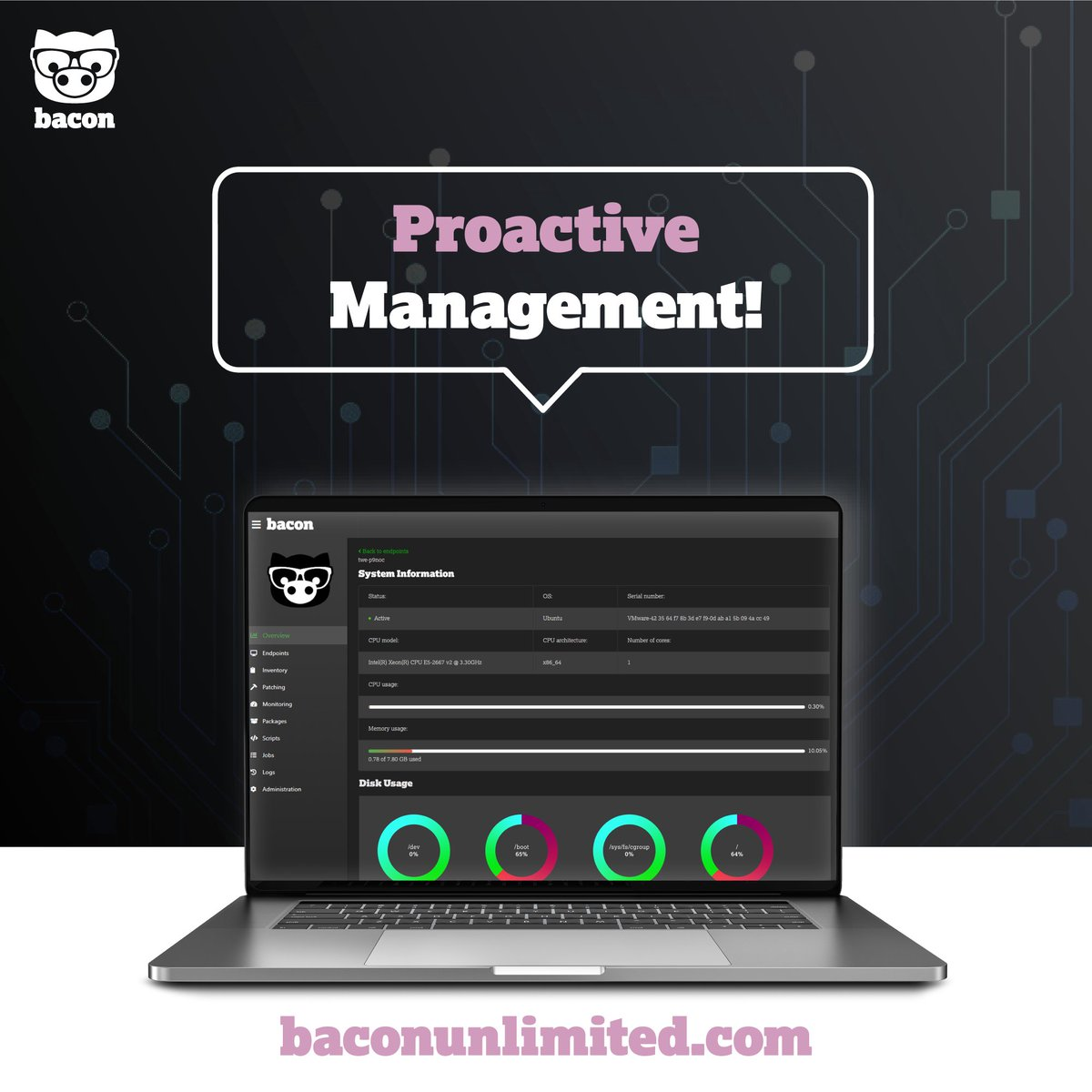 Announcing Bacon v1.4--proactive management!   FREE #webinar on June 5 @ 2pm. Sign up today at https://baconunlimited.com  #baconunlimited #getbacon #bacon #itsupport #itservices #itsoftware #tech #newtech #technology #innovation #software #windows #mac #linuxpic.twitter.com/YAZnTt6Qss