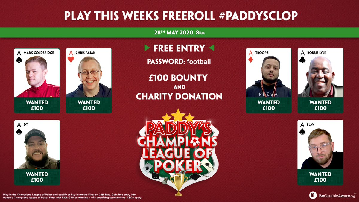 Tomorrows #PaddysCLOP tournament is getting ever closer! Just 250 FREE seats remaining to play You can join via the link & win £100 if you knock Robbie, DT or Troopz out! Look for the #PaddysCLOP Freeroll in the tournaments list bit.ly/3cMTV48 BeGambleAware 18+ #AD