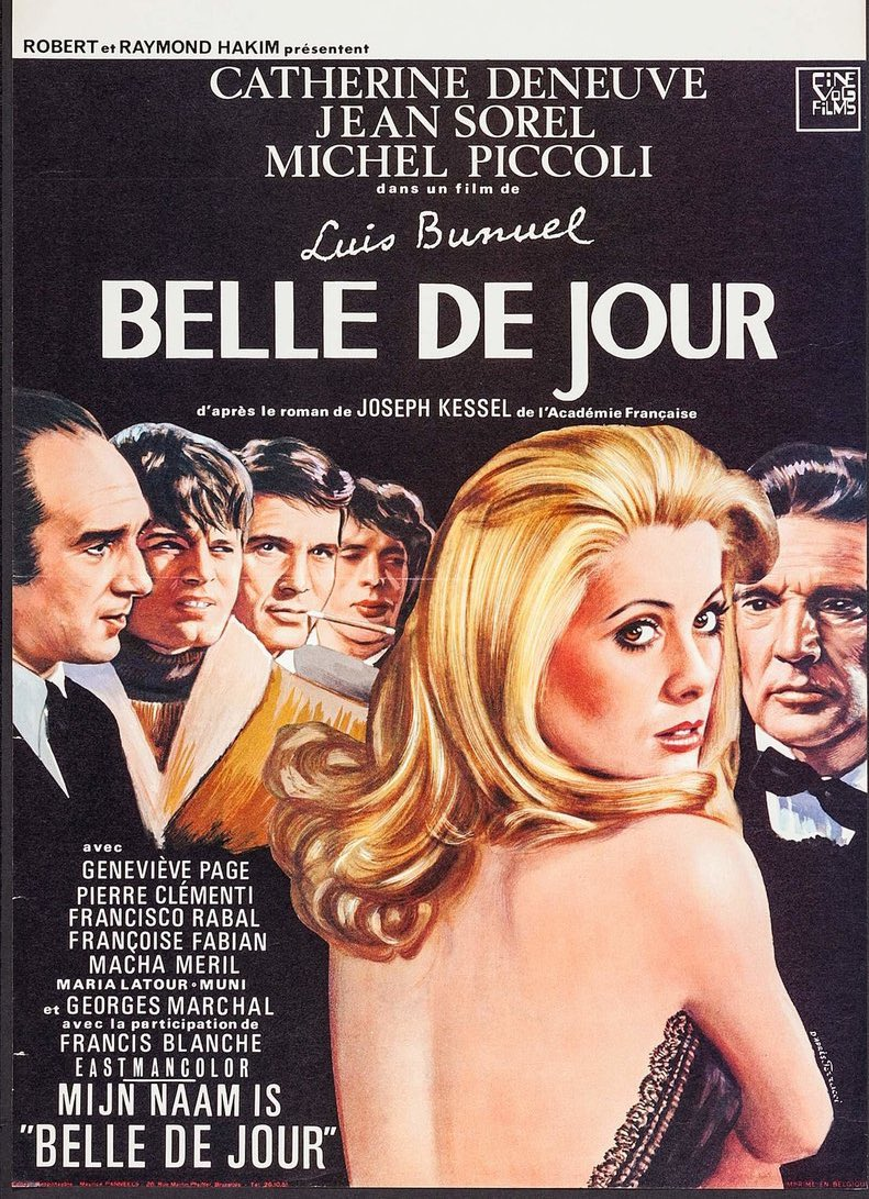 Double bill for the day: Belle Du Jour (1967) & Mona Lisa (1986). The oldest profession shot from both sides. In Buñuel's classic, we follow Deneuve's Yves St. Laurent clad housewife into the world of high end escorting. Then see Bob Hoskin's minder doomed as he falls for one...