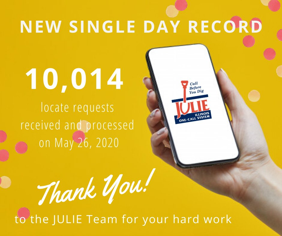 Record Day! Yesterday we received and processed 10,014 locate requests breaking the previous single…