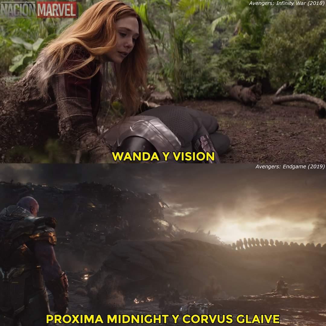 Proxima Midnight abraza a Corvus Glave, antes de desvanecer en Avengers: Endgame; al igual que Wanda abraza al cuerpo sin vida de Vision en Avengers: Infinity War. pic.twitter.com/GPPdiQfy3t