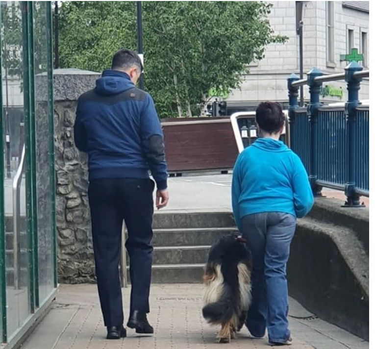 Jackie in Sligo who has been cocooning during #Covid19 asked us if we would exercise her Guide Dog Rhum as she is a working dog, of course we obliged as we are #HereToHelp. Jackie again asked us as some restrictions were lifted to assist her gain her confidence with a short walk.