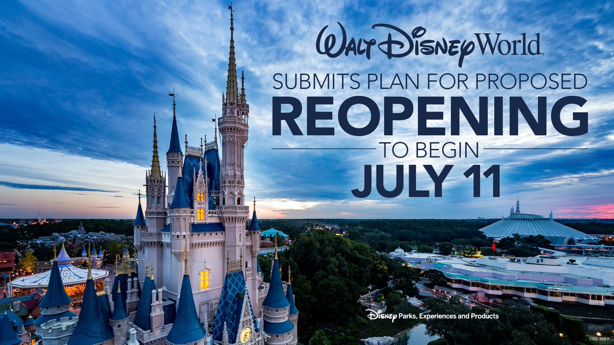 We're pleased to share plans for the phased reopening of @WaltDisneyWorld Resort Theme Parks, Resort Hotels and Disney Stores. Learn more on the @DisneyParks Blog:  https:// bit.ly/2X638z0     <br>http://pic.twitter.com/LnoVYuWQ8T