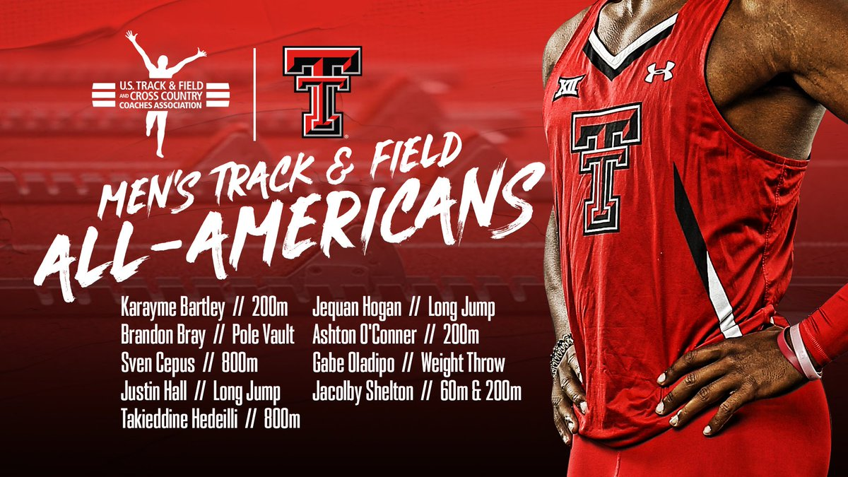 𝐎𝐟𝐟𝐢𝐜𝐢𝐚𝐥   Nine Red Raiders,  All-America awards from the indoor season.   #WreckEm<br>http://pic.twitter.com/VRrMEJf88q