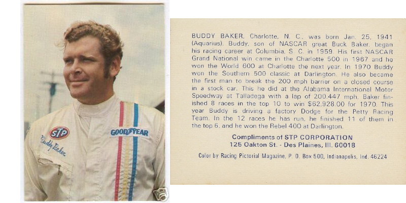 Today in #NASCAR History (5/27/73) Buddy Baker won the 1973 World 600 race at Charlotte Motor Speedway, Concord, NC | Trading Card: 1972 STP #thehobby #TradingCards #whodoyoucollectpic.twitter.com/6TBlsnIckA