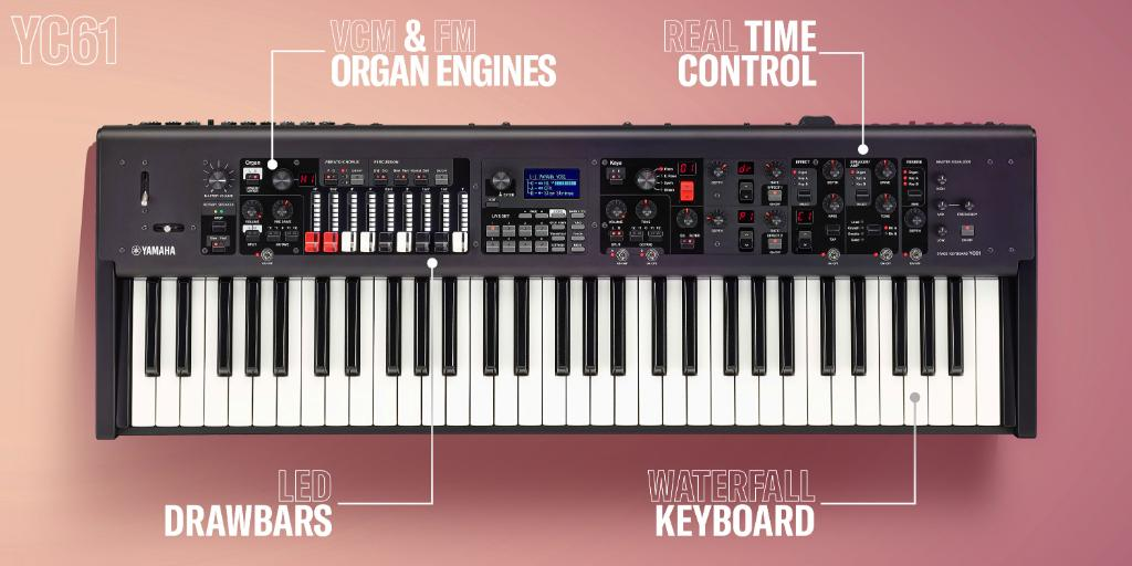 Designed for gigging keyboardists, the YC61 features a newly designed Virtual Circuitry Modeling (VCM) Organ engine with physical drawbars, extensive real time control and authentic Acoustic/Electric Piano and FM synth sound. #YamahaSynths #Synths #Synthesizerspic.twitter.com/dzISCRPNDz