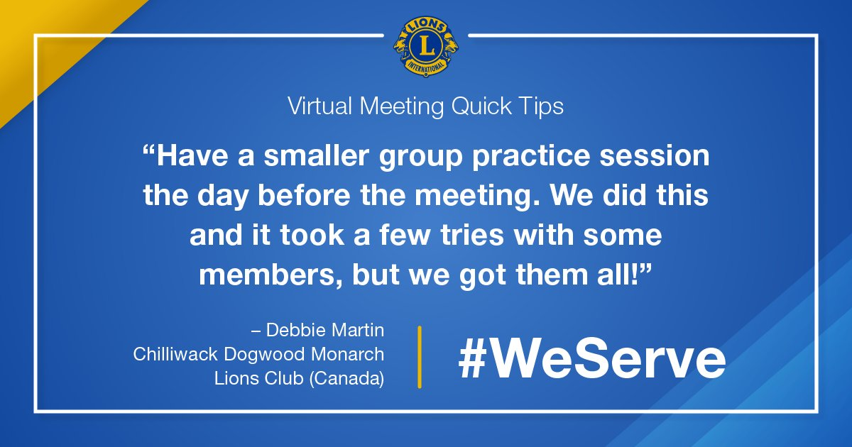 test Twitter Media - Lions share virtual meeting tips as they learn to adapt in a new digital landscape. Lion Debbie in Canada suggests practice sessions for members just getting started. What are your tips? #WeServe https://t.co/AAOMNCo8s7