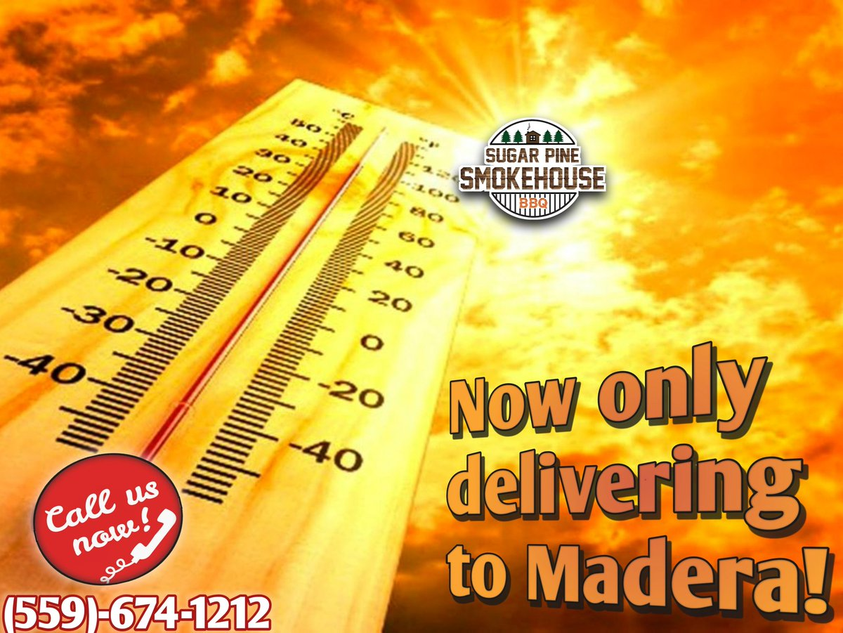 Stay out of the heat and the kitchen! Let us do the cooking and delivery! #Madera only. Cocktails & beer #to-go!  pic.twitter.com/QTWYz9Bexg