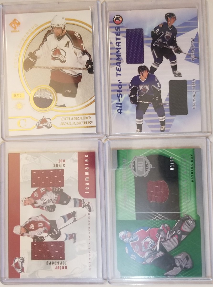 Avalanche fans...  Avs For Sale (possibly FT), open to offers  Sorry for the poor photos, work computer is taking up my photo-taking area. Can get better pics if you want them later.   #collect #NHL #TradingCards #thehobby #hobbyfampic.twitter.com/ln6Js01nDR