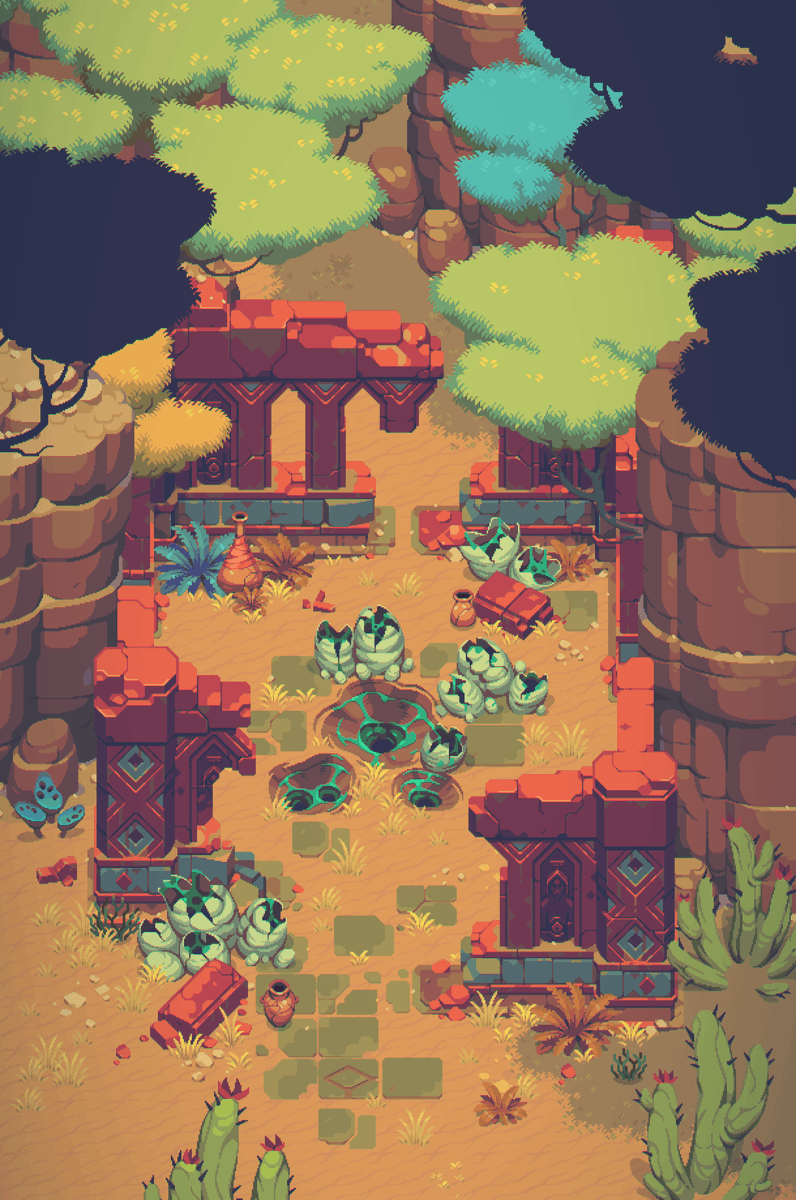 Little test with constructor elements for environment  @UnDungeon   #pixelart #pixel #gamedev #indie #indiedev #environmentpic.twitter.com/8FXS8ECIs0