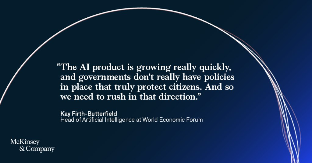 #RT @AILawHub: RT @McKAnalytics: McKinsey on AI, episode two: Why governments need an AI strategy. We explore in our latest podcast mini-series, McKinsey on AI, featuring @wef's Head of Artificial Intelligence, @KayFButterfield. Listen now: …