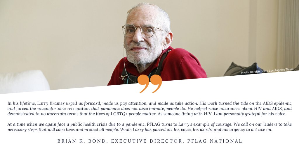 Our Executive Director @BrianKBond's statement on the passing of #LarryKramer. https://t.co/8GZnqK7DFA