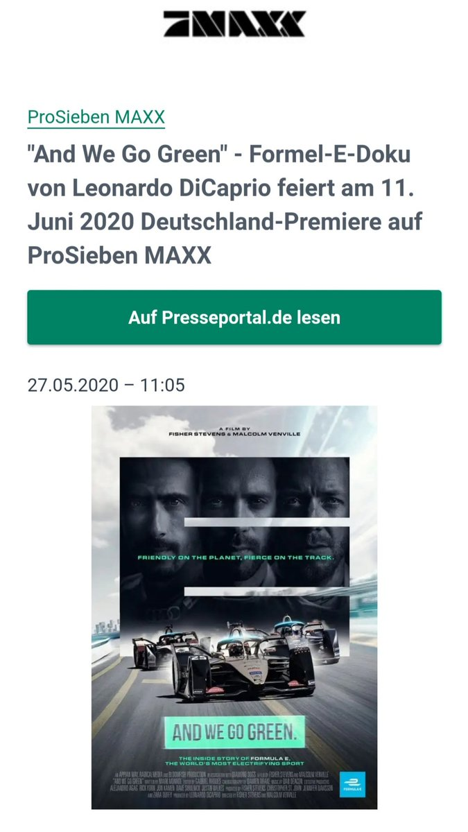 German @FIAFormulaE fans, we finally have a release date for #ANDWEGOGREEN! It will air on June 11th, 22:10 on ProSieben MAXX. Don't miss this brilliant documentary. ⚡🔥  https://t.co/kq5pKgtcyX  #ABBFormulaE #FE #motorsport #racing #electricracing https://t.co/Pbj3lHPhO1
