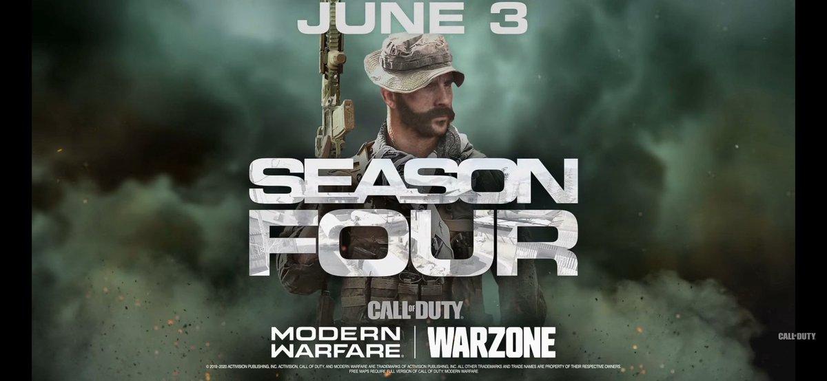 La saison 4 de #ModernWarfare et #Warzone commence le 3 Juin<br>http://pic.twitter.com/1jDNz69YYa