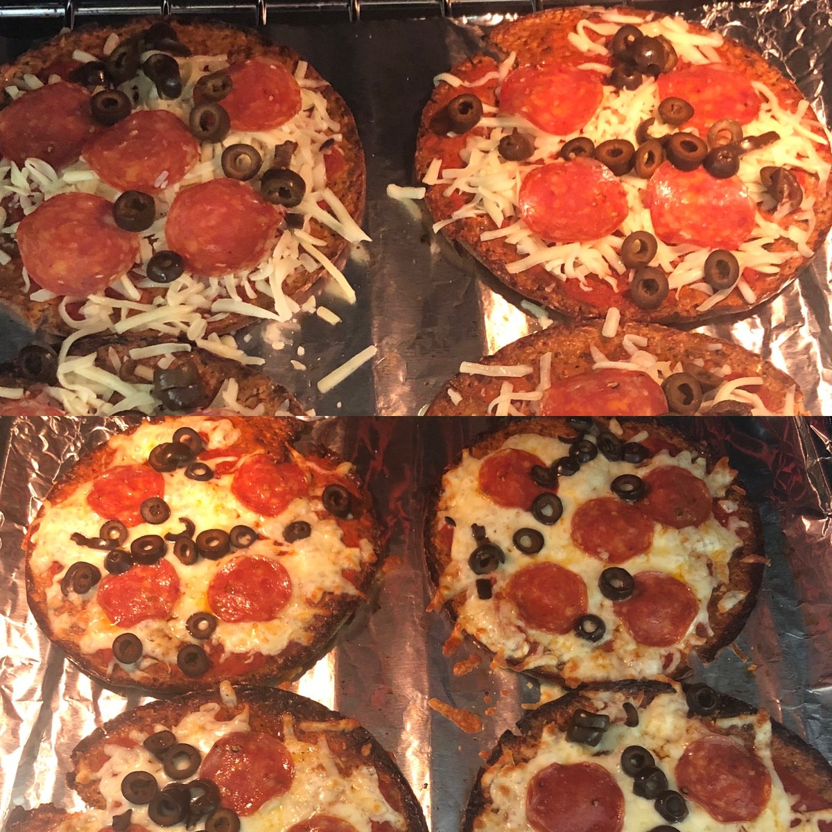 Low Carb?  Using cauliflower to make everything from pizza crust, bread to oatmeal helps add this veggie to your diet.   Cruciferous veggies like cauliflower or broccoli increases glutathione - the master antioxidant of the body.   Here are cauliflower crust pizzas I made! :) https://t.co/LMFnBogHG8