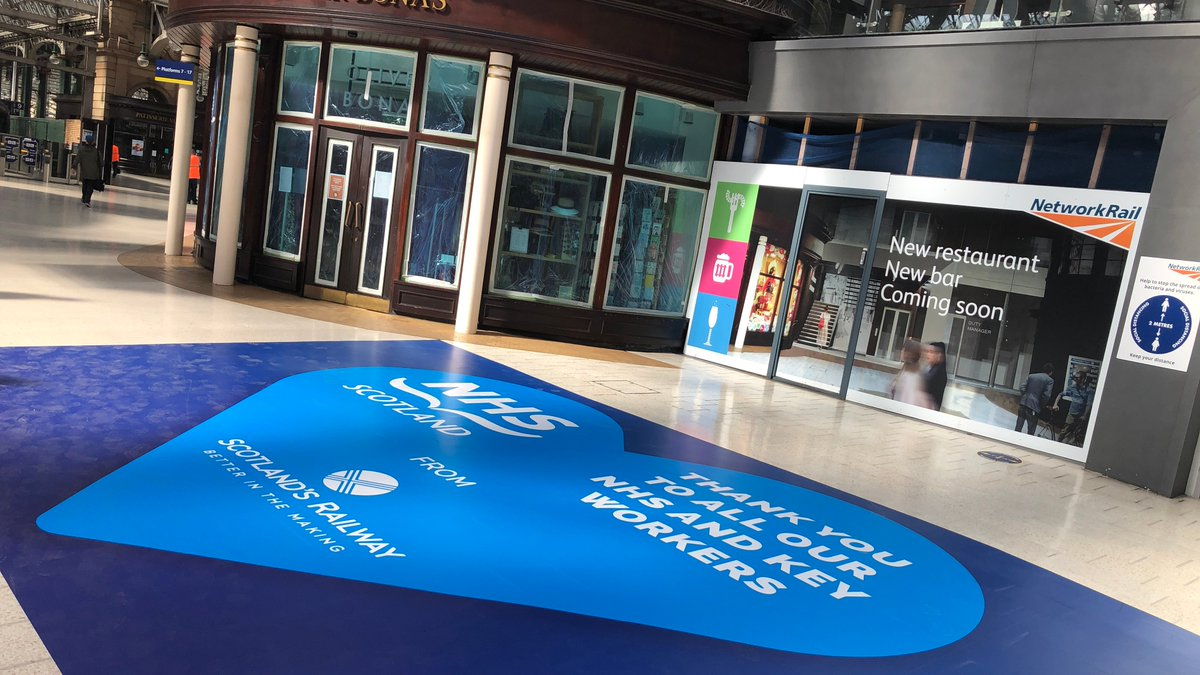 Weve kitted out Edinburgh Waverley and Glasgow Central with new floor vinyls in a show of support for our NHS and key workers. The 5m graphics have a simple & heartfelt message of thanks to the NHS & all key workers whove been at the forefront in the battle against Covid-19.