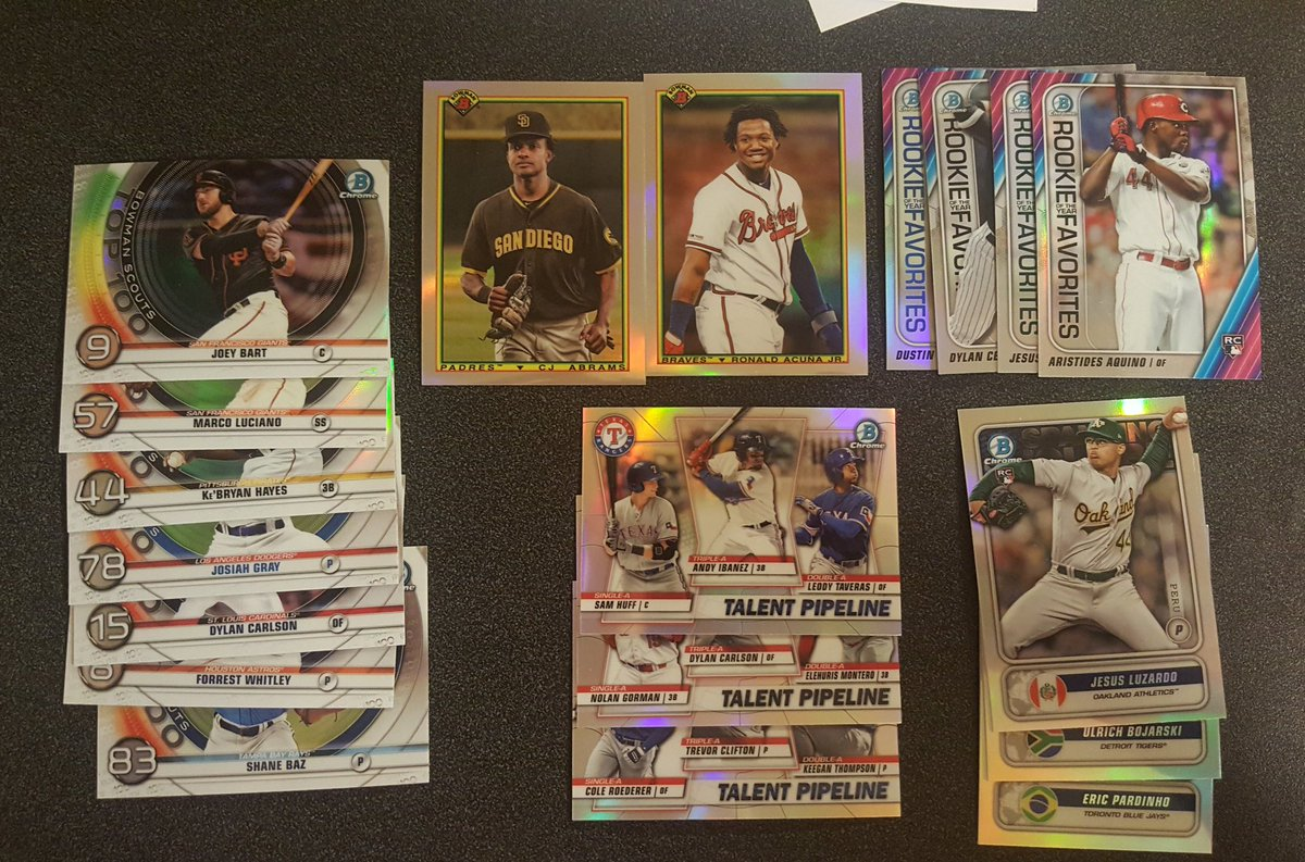 Anyone interested in a large lot of 2020 Bowman? 80 Paper Prospects, 57 RCs, 50 Chromes and 19 Inserts. $1, pic and price for retweet.  @HobbyConnectorpic.twitter.com/CtGJnV94bu