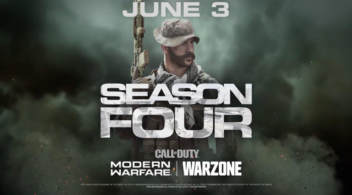 """L'écriture """"Season Four"""" tease l'arrivée de la carte Scrapyard pour le mode Multijoueur de #ModernWarfare ! <br>http://pic.twitter.com/Z6wGETWDJW"""