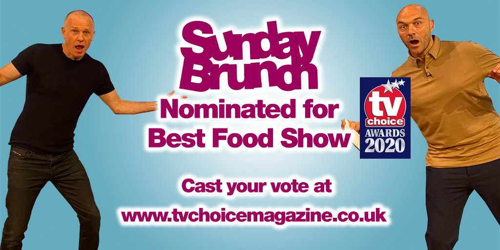 #SundayBrunch has been nominated in the Best Food Show category at the TV Choice Awards! Vote here: https://bit.ly/3gqBe8B pic.twitter.com/KgvOKKkLYX