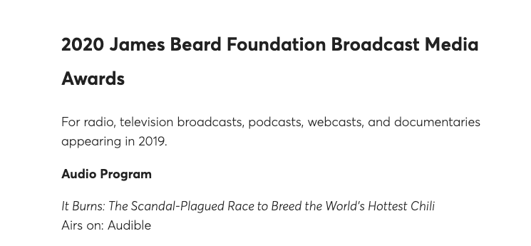 Delighted to learn that It Burns - a surprising story about chilli eating - won the prestigious @beardfoundation award for best audio programme. It was a joy to work with @MarcFennell (the best awards entry writer this planet will know) @richpower @todik0 #SomeLikeItHot