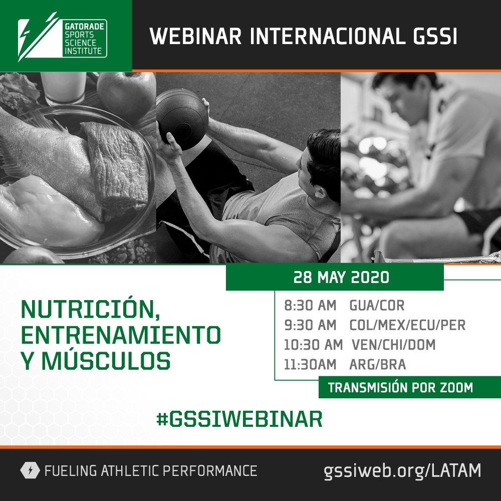 """Inscribite gratis en el seminario web """"Nutrición, entrenamiento y músculos"""" presentado por #GSSI Instituto Gatorade de Ciencias del Deporte. #CIENCIAGATORADE   Inscribite gratis: https://t.co/xIKiM7Fdps https://t.co/Rgre185SlP"""