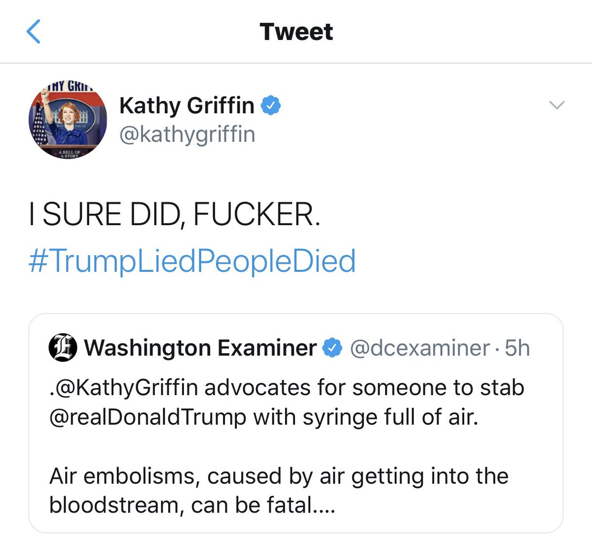 She held a decapitated head of President Trump and now she is talking about stabbing him. We the people should demand an arrest! Use this hashtag as much as possible #ArrestKathyGriffin #ArrestKathyGriffin #ArrestKathyGriffin #ArrestKathyGriffin #ArrestKathyGriffin
