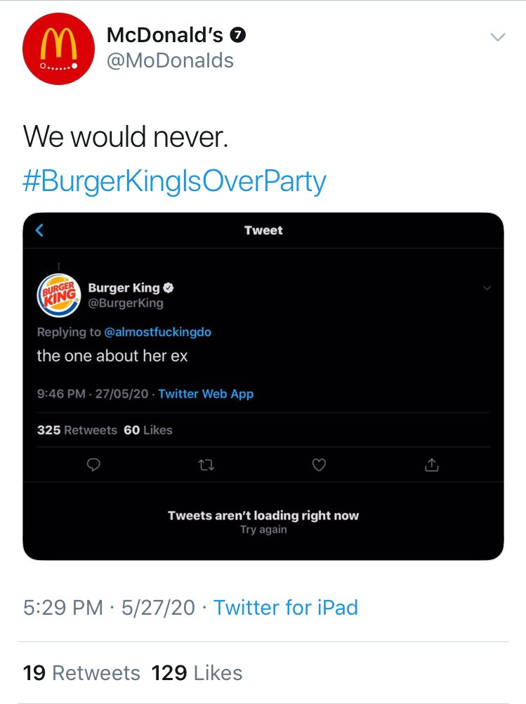 PLSS Not McDonalds cancelling Burger King too the girls are fighting #BurgerKingIsOverParty
