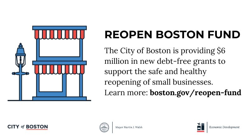 Applications open tomorrow at 5pm for the Reopen Boston Fund.  The Reopen Boston Fund will help small businesses put in place the necessary public health guidance requirements needed to reopen in the coming months.  https://t.co/wMJqTvwQCh https://t.co/RDqKwM1Xer
