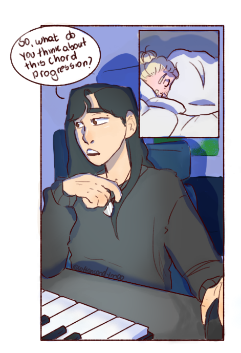 Yongsun was having problems composing her new song so she calls Byul at 3 am for help but she ends up falling asleep in the middle of the videocall  #moonsun #mamamoo #fanart #moobyul #solarpic.twitter.com/kf9luBvGKd