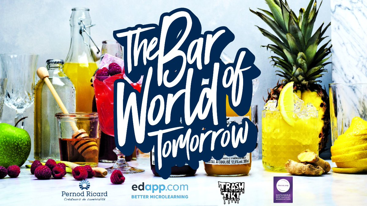Let's work together to shape the Bar World of Tomorrow! Developed with Trash Tiki and @the_SRA, this free micro-training course for bar professionals focuses on less waste, better products and responsible drinking.  More info here: https://t.co/LudPCHToZo https://t.co/IewGUAcQ5V