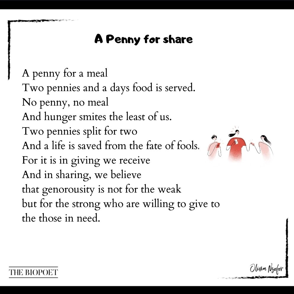 A penny can save the hungry. In giving, you receive.. So give and save a life.  #poetry pic.twitter.com/YsPIcfjn46