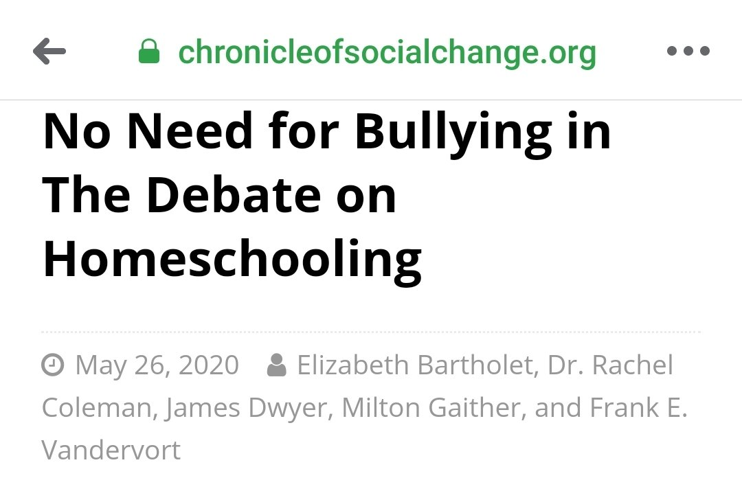 """Harvard's Elizabeth Bartholet launched a war on homeschooling.  Now she's claiming that she's being """"bullied"""" by people calling her out. https://t.co/p3Iw1Lg4tp"""