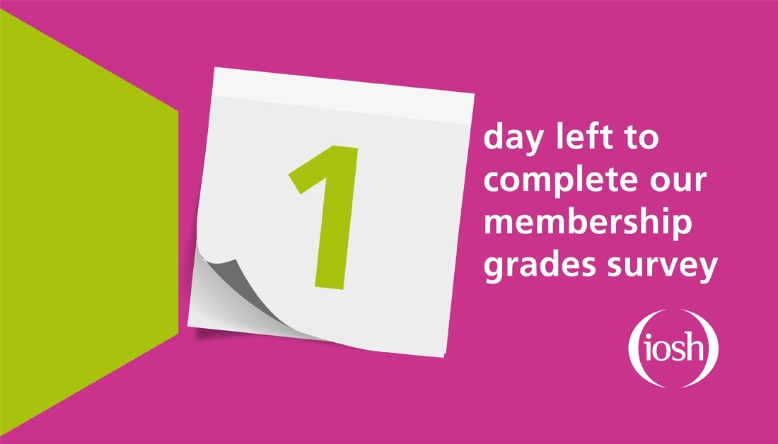 There's only one day left to complete the membership grades survey. Don't miss out - check your inbox, tell us your views and help us shape the future of #OSH Remember, the FAQs have been updated: orlo.uk/iYHin #IOSHGrades
