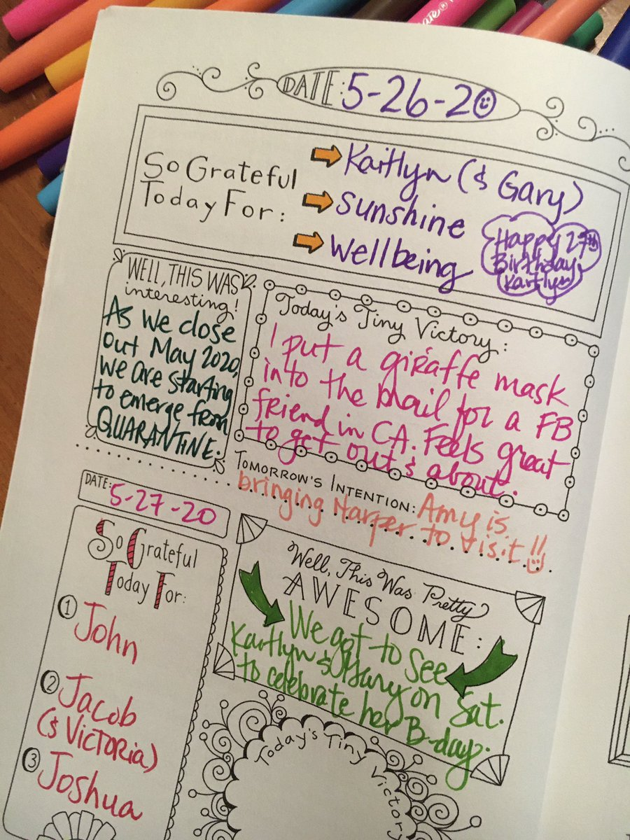 A1: Writing reflections in my #gratitude journal; one of the best best 5-minute parts of my day! #cschat