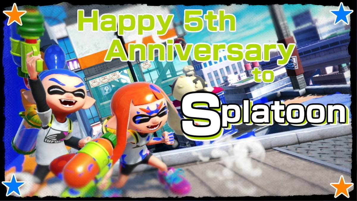 Today marks 5 years since we first met those lovable squid-kids!  Here's to many more fresh memories of #Splatoon!  #SmashBrosUltimate