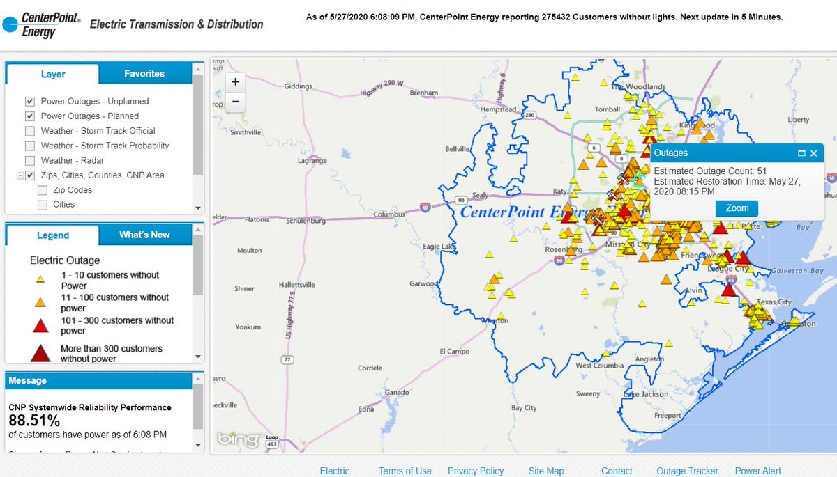 Damage from this afternoon's severe weather has significantly impacted our #Houston electric service area & we currently have 275K customers without power; our smart meters know you're out, please don't call unless you're reporting emergencies, e.g., downed lines & equipment. pic.twitter.com/z3SOGXVxtF