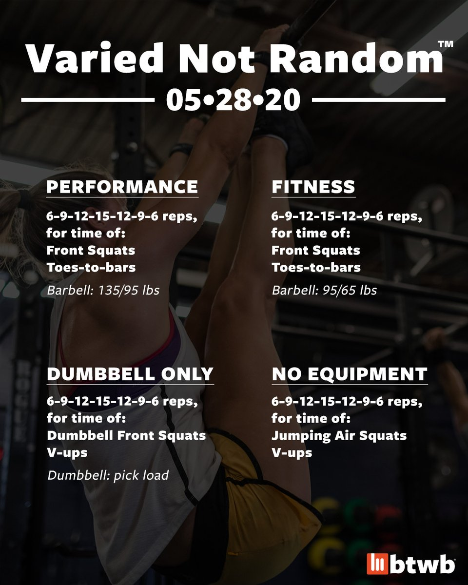 Thursday 05•28•20 #VariedNotRandom programming for #NoEquipmentWOD, #DumbbellOnlyWOD, #FitnessWOD, and #PerformanceWOD.  Join the #CrossFit #btwb #community today. Learn more at http://bit.ly/33yVqyA .pic.twitter.com/6fAiBCmpgh